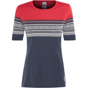 Aclima DesignWool Marius Shortsleeve Shirt Women red/blue
